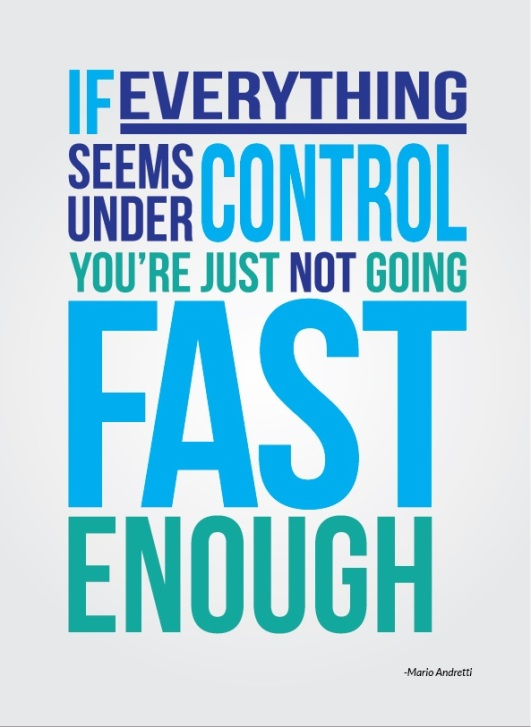 If everything seems under control you're just not going fast enough. Mario Andretti  #Posters #Quotes