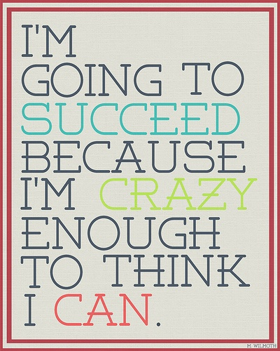 I'm going to succeed because I am crazy enough to think I can.  #poster  #taolife