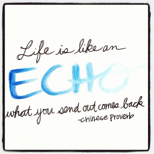 Life is like an echo. What you send out comes back. Chinese Proverb  #life #success #quotes #taolife