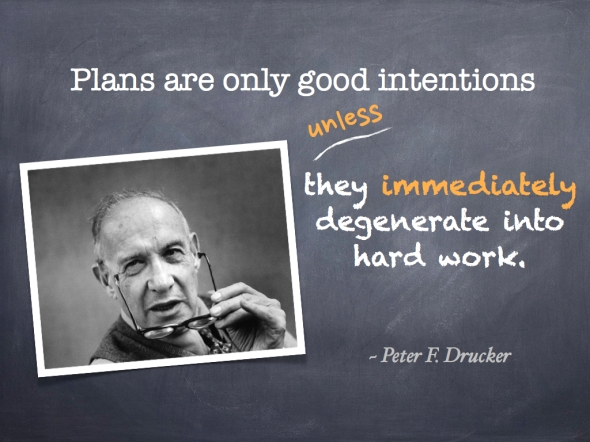 Peter F Drucker - Plans are only good intentions unless they immediately degenerate into hard work.