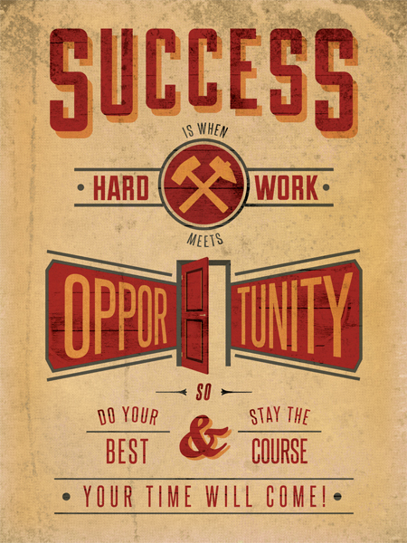 Success is when hard work meets opportunity, so do your best and stay the course. You time will come!  Posters