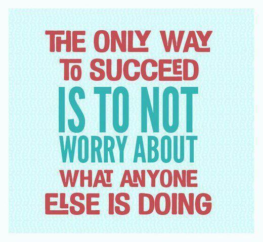 The only way to succeed is to not worry about what everyone else is doing  ~  #success #quotes #taolife