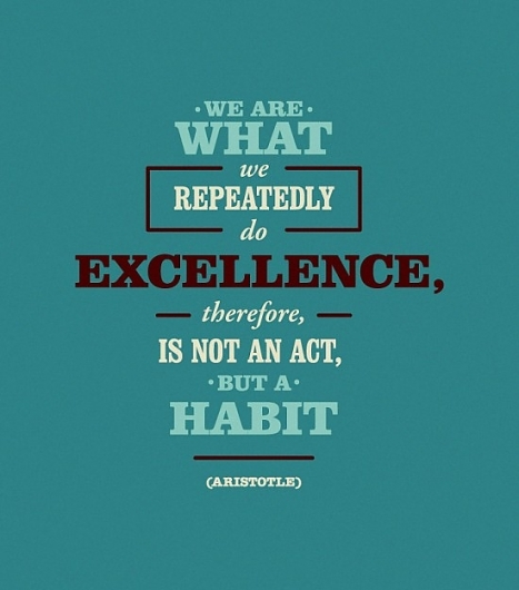 We are what we repeatedly do. Excellence, therefore, is not an act, but a habit. Aristotle ~ Posters ~ Quotes