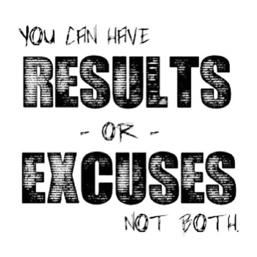 You can have results or excuses, but not both.  Poster  #poster #quote #success #results #taolife